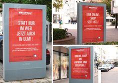 Die neue Citylight-Kampagne für das Schuhhaus Ratter in Ulm ist mit 3 Motiv-Varianten gleichzeitig am Start! Die Aufgabe an uns: Werbung für Onlineshop und stationären Handel in nur einem Motiv unterbringen. Knifflig – und souverän gelöst: wir kombinieren auf irritierend-originelle Weise On- und Offline-Werbung in einer Headline aus Umdrehungen und Schachtelsätzen.