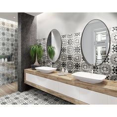Casablanca Dusk Matte Porcelain Tile - 17 x 17 - 100652981   Floor and Decor House Tiles, Wall And Floor Tiles, Moroccan Wall Tiles, White Porcelain Tile, Patchwork Tiles, Hexagon Tiles, Commercial Flooring, Shower Floor, Floor Decor