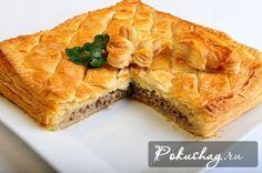 Пирог слоеный с мясом косичкой