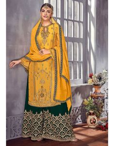 4fa068ca6193 Golden Yellow and Bottle Green Embroidered Palazzo Kameez. Palazzo  SuitLatest Fashion DesignPakistani SuitsColorful PartyDress ...