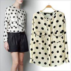 2013 damas casual blusa de gasa para las mujeres deimpresión polka