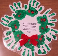 suppose you could even make an easter wreath, and just modify the poem! I wrote this poem for the center of the wreath:  Candy canes,Christmas tree, & Mistletoe, The spirit of Christmas is bright & aglow.  My hands in circle are here to remind, How fast I grow in so little time.  When decorating this time next year, Remember first grade with Christmas cheer!  Merry Christmas!!