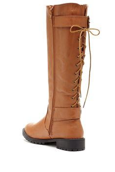 Lace up back riding boot