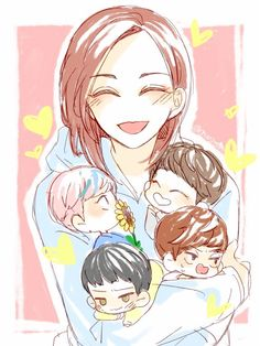 Momma Jeonghan with either the vocal unit or the 4 youngest I can't tell (the four youngest being Minghao, Seungkwan, Hansol, and Chan) Jeonghan Seventeen, Seventeen Debut, Seventeen Memes, Kpop Drawings, Art Drawings, Fanart Kpop, Seventeen Wallpapers, Amazing Drawings, Cute Chibi