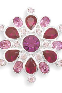 Pink and Fuchsiacolored genuine Swarovski crystal flower fashion pin!