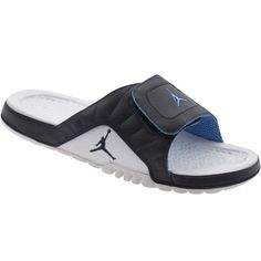 Jordan Hydro V Premier sandals in obsidian, white, and university blue