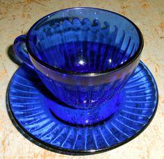 Vintage Tea Cups Cobalt Blue Colorex Glass Tea Cups by TheBackShak, $45.00