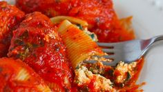 Dairy-Free Spinach Stuffed Shells Recipe | Fresh Tastes | PBS Food. (Phil makes a lasagna that is very similar to this, it is absolutely delicious!)