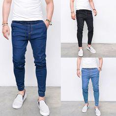 Jeans Skinny Homens Hip Hop Stripe Elastic Slim Fit Denim