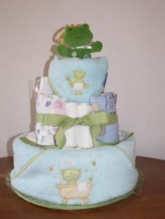 TOWEL BABY SHOWER CAKES | Blue & Green Boy Baby Shower Ideas