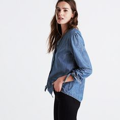 Denim is a seven-days-a-week deal for us and this popover top is just another way we're doing it. Pretty shirring and ties on the sleeves give it a low-key feminine feel we love. <ul><li>True to size.</li><li>Cotton.</li><li>Machine wash.</li><li>Import.</li></ul>