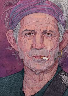 'The Rolling Stones' Uniquely Illustrated with Lines by Stavros Damos (Keith Richards)