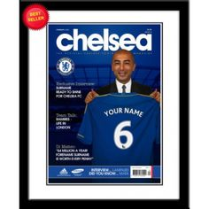 Your Name and Number on the Chelsea Shirt held up by John Terry - Brilliant Gift! Email your Surname and Number when purchasing Max 12 Characters (including spaces) any number from 1 to 99 Use Gift Message box for Details needed Mounted in a Frame Chelsea Name, Chelsea Fc, Picture Gifts, Photo Gifts, Magazine Front Cover, Contemporary Frames, Stamford Bridge, Sports Gifts