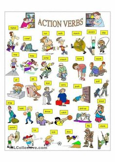 A collection of English ESL Verbs: Action verbs worksheets for home learning, online practice, distance learning and English classes to teach about English Verbs, Learn English Grammar, English Vocabulary Words, Learn English Words, English Study, English Lessons, French Lessons, Spanish Lessons, Learning English For Kids
