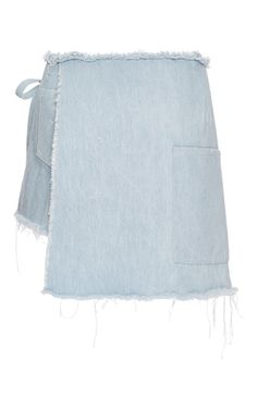 This skort by **Sandy Liang** is rendered in light blue denim and features a wrap around style and large front pocket.