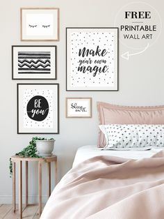 Art Wall Bedroom : Free Wall Art Printables For Your Bedroom Minimalist Gallery With Art Wall Bedroom Art Wall Bedroom Gallery Wall Bedroom, Bedroom Art, Quotes For Bedroom Wall, Quote Wall Art, Bedroom Frames, Bedroom Prints, Modern Bedroom, Free Art Prints, Wall Prints