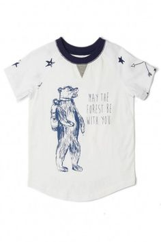 "A cool bear says ""Let the forest be with you"" on this white tee with navy print and trim."
