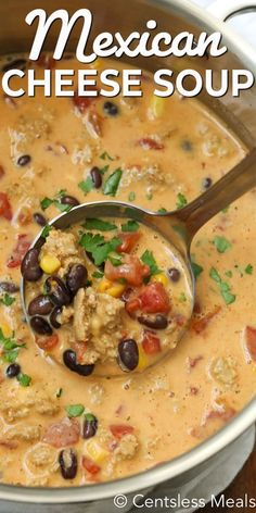 This Mexican Cheese Soup is so hearty and filling that it truly is a meal in itself, and is perfect for a weeknight dinner or lunch. Chicken, corn beans and tomatoes, all smothered in a cheesy and spicy beef broth makes this soup so satisfying. Mexican Soup Recipes, Chicken Recipes, Dinner Recipes, Mexican Cheese Soup Recipe, Mexican Chicken Soups, Mexican Chicken Chili Recipe, Nacho Soup Recipe, Spicy Chicken Soup, Chicken Chile