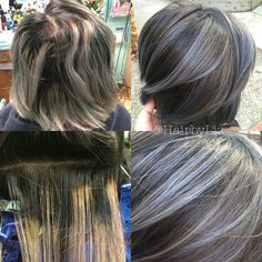 @liz.colors • First step in a pretty big color correction today •before photos on the left(not done by me), after on the right• This lovely client went to a salon while visiting home and wore this grey/black/brassy stripy color for 2+wks, poor thingCan you believe this was done by a professional?! We're 1step closer to the rooty grey/silver colormelt she was going for✨ #colorcorrection #Pravana #joico #silverhair #greyhair #hairbyliz__ @trixipixii