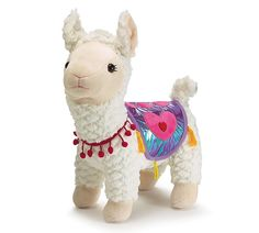 White llama plush with shiny metallic purple blanket with pink hearts and yellow tassels. Hot pink band of pom-poms hang around the neck. Not intended for children. Valentines Mugs, Valentine Box, Llama Plush, Llama Gifts, Cute Llama, Diy Crafts Hacks, Gift For Lover, Kids Wear, Hot Pink