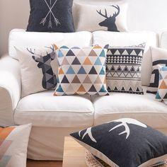 Minions Motif flannele Broderie Coton Canapé Coussin Pillow Covers Home Decor