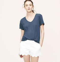 In a luxe pima cotton modal mix, this slubbed V-neck style is a total must-have. Short sleeves. Banded neckline.
