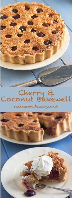 This Cherry & Coconut Bakewell Tart by recipes Made Easy is a variation of a traditional Bakewell tart. Filled with cherry jam, fresh cherries and a delicious coconut frangipane. Delicious served hot or cold. Easy Desserts, Delicious Desserts, Yummy Food, Coconut Desserts, Pie Dessert, Dessert Recipes, Fruit Recipes, Tart Recipes, Baking Recipes