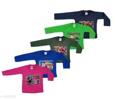 Tshirts & Polos  Elegant Kid's T-Shirts (Pack Of 5) (2-6 Year) Fabric: Cotton Sleeves: Sleeves Are Included Size: Age Group (6 Months - 12 Months) - 14 in Age Group (12 Months - 18 Months) - 16 in Age Group (18 Months - 24 Months) - 18 in Age Group (2 - 3 Years) - 20 in Age Group (3 - 4 Years) - 22 in Age Group (4 - 5 Years) - 24 in Age Group (5 - 6 Years) - 26 in Age Group (6 - 7 Years) - 28 in Age Group (7 - 8 Years) - 30 in Type: Stitched Description: It Has Pack Of 5 Of Kid's T-Shirts Work: Printed Country of Origin: India Sizes Available: 3-6 Months, 6-9 Months, 6-12 Months, 9-12 Months, 12-18 Months, 18-24 Months, 1-2 Years, 2-3 Years, 3-4 Years, 4-5 Years, 5-6 Years, 6-7 Years, 8-9 Years *Proof of Safe Delivery! Click to know on Safety Standards of Delivery Partners- https://ltl.sh/y_nZrAV3  Catalog Rating: ★4 (11486)  Catalog Name: Latest Elegant Kid's T-Shirts (Pack Of 5) Vol 1 CatalogID_420213 C59-SC1173 Code: 033-3069788-