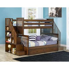 Zachary Twin over Double Bunk Bed with Universal Staircase Bunk Beds Boys, Double Bunk Beds, Full Bunk Beds, Kid Beds, Loft Beds, Bunk Bed With Stairs And Storage, Bunk Beds With Drawers, Bunk Beds Canada, Child Room