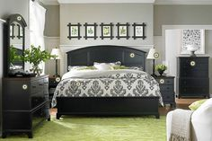 I love how fresh and modern this neutral color palette with bright pops of green looks. The green could easily be too much for the room if the black pieces weren't there to temper it. Green is the most relaxing, calming color; making it perfect for use in bedrooms.    Bassett Furniture » Tools
