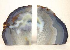 Quartz Crystal Book Ends, Natural Grade A Agate Bookends