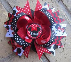 Minnie Mouse Red Black Chevron PERSONALIZED Boutique Hair Bow