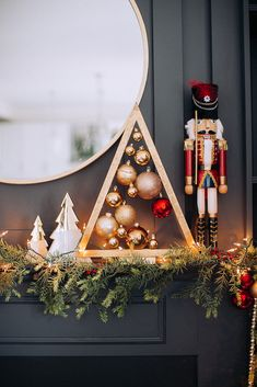 I'm very excited about today's post because I love a challenge. Today I'm participating on a mystery design challenge with my friends: The Handmade Home Zevy Joy Lolly Jane Thistlew. Gold Christmas Decorations, Christmas Mantels, Christmas Wreaths, Holiday Decor, Christmas Room, Nutcracker Christmas, Winter Christmas, British Christmas, Alternative Christmas Tree