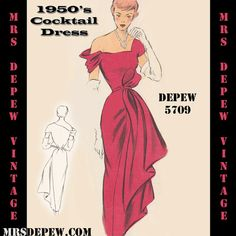 Vintage Sewing Pattern 1950er-Cocktail-Kleid in jeder von Mrsdepew