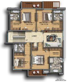 Qatar Al Rayyan Residential Development - villas Classic House Design, Modern House Design, Free House Plans, House Floor Plans, Villa Design, Floor Design, Home Design Plans, Plan Design, Residential Building Design