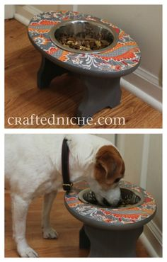 DIY dog feeder from a stool. I wish We could keep dog food inside, just so I could make one of these.
