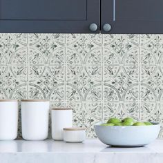 Add a vintage charm to your kitchen with this peel and stick backsplash. Its antique off-white hue adds a realistic touch to its tile pattern. Chelsea Antique White Peel and Stick Tin Tiles contains on 4 sheets that measure 10 in. x 10 in. Wallpaper Backsplash Kitchen, Tin Tile Backsplash, Peel N Stick Backsplash, Tin Tiles, Peel And Stick Tile, Stick On Tiles, Backsplash Ideas, Wallpaper For Kitchen, Removable Backsplash