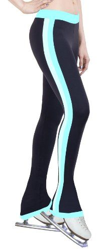 Ice Figure Skating Dress Practice Pants Side Stripe Turquoise/Two Tone - Adult Extra Small $44.99