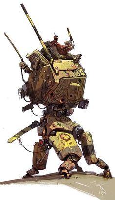 Cool looking quadruped mech. Character Concept, Character Art, Character Design, Steampunk, Cyberpunk, Arte Tribal, Mekka, Robot Concept Art, Suit Of Armor