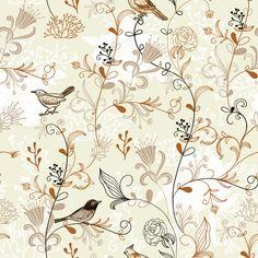 Elegant hand drawn birds with flower vector pattern / EPS file