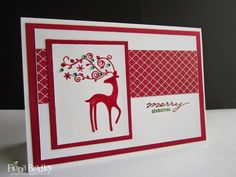 Christmas reindeer Dasher - Stampin Up - Cherry Cobbler - Just Spiffing