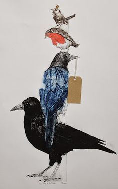 Sue Brown Printmaker: KING OF THE BIRDS, COLLAGRAPH. Tile cement allows me to press real feathers into the birds and the carborundom gives that rich black needed for crows.