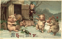 A Happy New Year - Drinking Pigs New Year's 2013. Remember do not drink and drive!