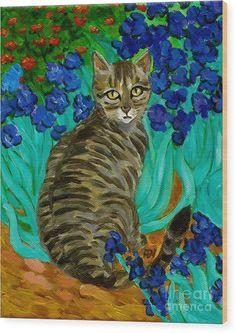 Sold - The Cat At Van Gogh's Irises Garden