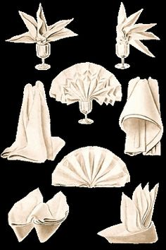 Linen Table Napkins In Creative Napkin Folds