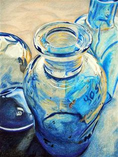Sketch a day inspiration day 47~ A bottle  Jana Rossouw 17 - Reflective Glass drawing