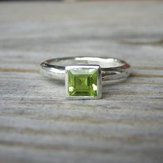 Spring Green Square Princess Solitaire or Stacking Ring in Tarnish Free and Recycled Sterling