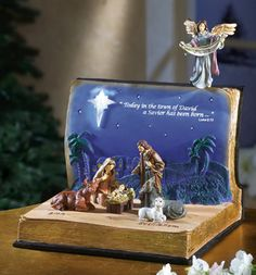 Nativity Scene in an Open Bible Statue Set Christmas Nativity Scene, Christmas Rose, Christian Christmas, Christmas Makes, Vintage Christmas, Christmas Holidays, Christmas Decorations, Nativity Scenes, Christmas Bells