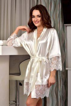 Lingerie Outfits, Lingerie Dress, Lingerie Set, Bride Dressing Gown, Satin Dressing Gown, Lace Bridal Robe, Bridal Gowns, Wedding Night Lingerie, Satin Pajamas