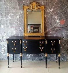 Federal buffet vintage antique colonial ornate painted black and gilt gold leaf tassels hollywood regency Hollywood Furniture, Dorm Storage, South Shore Decorating, Guest Room Office, Painted Furniture, Home Accessories, Vintage Antiques, Wall Decor, House Design